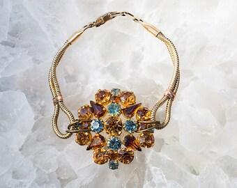 Lady Esmerelda Repurposed VINTAGE COCKTAIL Bracelet Earthy Fall Colors