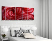 Abstract metal art painting 3D effect wall decor red sea ocean wave hot dance contemporary style original modern hand made by Lubo Naydenov