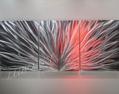 Modern Abstract Metal art Wall sculpture home office Decor 3D Video effect LED Halogen colour light reflect no painting unique Original Lubo