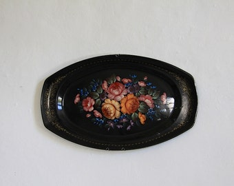 Vintage French Tea Tray, Victorian Style Tole Tray Decorated with Roses Elegant French Home Decor
