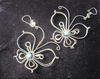 Large Wire Butterfly with Turquoise Stone Earrings