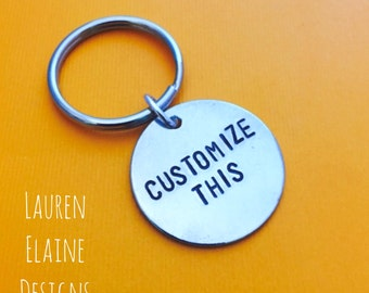 """Custom Hand Stamped Sterling Silver 1"""" Circle Keychains- Gift for Him, Gift for Her, Wedding, Best Friends, Coordinates"""