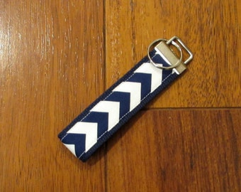 Sale Fabric Key Fob Keychain--Navy Blue Small Chevron