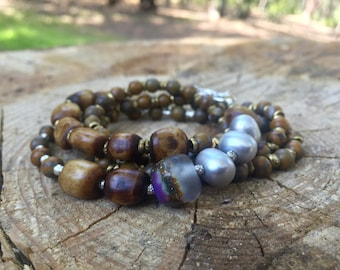Artisan Beaded Wrap Bracelet/Necklace: Chrysanthemum, Lampwork, Thai Hill Tribe Silver, Pearl, Bone, Hammered Bronze - Moonrise in Autumn