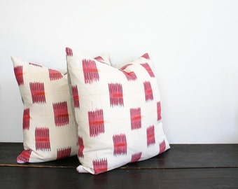 Woven Cream, Pink, Orange and Black Ikat Throw Pillow