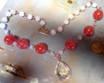 Copper Cherry Quartz Rose Quartz Handcrafted Necklace