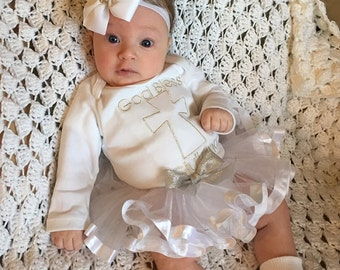 Baby girls baptism or christening ribbon trimmed tutu set
