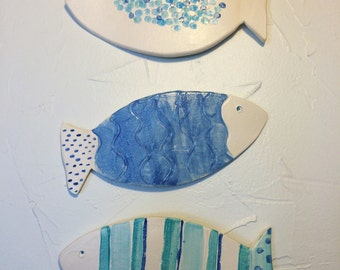 Ceramic Fish Mural-Set of Three (Starter Set)