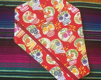 Red Sugar Skull Day of the Dead Coffin Shaped Case