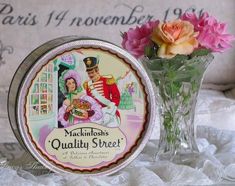 Charming Vintage ENGLISH Mackintosh CANDY TIN, Sweets, Southern Belle, Chocolates, Shabby Chic