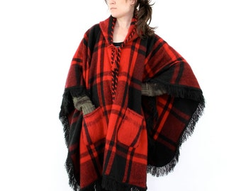 Plaid Wool Cape, Fuzzy Hooded Blanket Jacket Poncho Coat, Red & Black fringed boho hippie mod rustic hipster buffalo plaid one size fits all