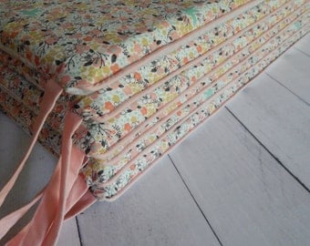 Design Your Own  - Coral Floral Bucks changing pad cover, rail covers, boppy covers, crib sheet, crib skirt, bumpers, window treatments