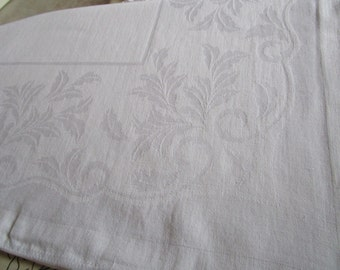 Vintage French White Damask Tablecloth Acanthus Leaves Fine Dining Christening Wedding 48 x 59 Inches