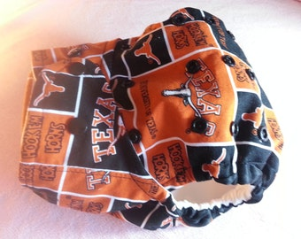 SassyCloth one size pocket diaper with Texas Longhorns cotton print. Made to order.