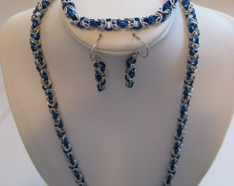 3 Piece Chain Maille Jewelry Set - Necklace Bracelet and Earrings Handmade