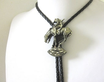 Native American End Of The Trail Horse Bolo Tie Tired Warrior Western Necktie Lariat String Necktie Diamond Cut Peweter Silver