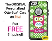 Custom iPhone OtterBox Commuter Case for iPhone 6/6s, 6 Plus/6s Plus, 5/5s, 5c, 4/4s, Galaxy S6 S5 S4 Note 5 4 Monogrammed Owl Lattice Case