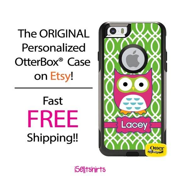 Custom iPhone OtterBox Commuter Case for iPhone 6/6s, 6 Plus/6s Plus, 5/5s, 5c, 4/4s, Galaxy S6 S5 S4 Note 5 4 Monogrammed Owl Lattice Case