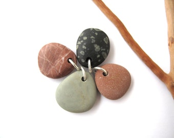 Rock Pendants Beach Stone Beads Diy Jewelry Stones Drilled Mediterranean Pebble Beads Natural River Stone Beads Brown PEACH MIX 20-23 mm