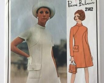 Vogue Paris Original 2142, Pierre Balmain, 1960's One Piece Dress, Bust 32 1/2, Uncut Sewing Pattern