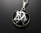 """Tribal design Chinese character""""Accomplishment"""" silver pendant with a Hawk's Eye"""