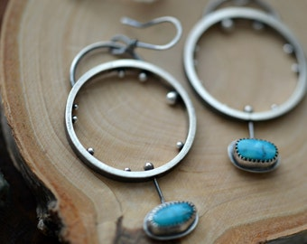 Unique silver hoops, turquoise dangles, artisan silver earrings, one of a kind earrings, statement earrings