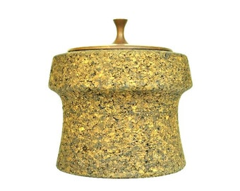 Mid Century Designed Richard Morgenthau & Co Cork Ice Bucket Wooden Lid Rare Find