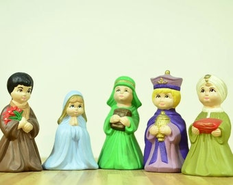 Vintage Christmas Ceramic Nativity Set Mary and Joseph and Three Wise Men Hand Painted 1975