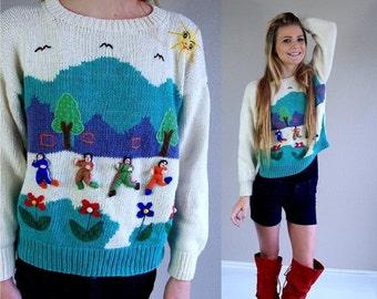 Half Off vtg 80s cream EXERCISE PEOPLE colorful Knit SWEATER Medium jumper novelty print ethnic Peru