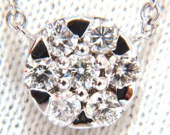 0.70ct natural (7) round brilliant diamond cluster pendant 14kt 16 inch