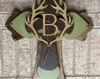 Personalized Large Wood Cross, Antler Brown and Sage Green Wood Cross, Wall Cross