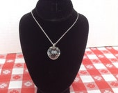 Vintage Faceted Crystal Strawberry Necklace / Silver Chain Leaves / Hallmark Cards Necklace