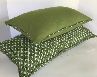 Decorative Pillow Covers in Lacefield Diego Concord Olive Ikat And Solid Olive Fabric includes Piping