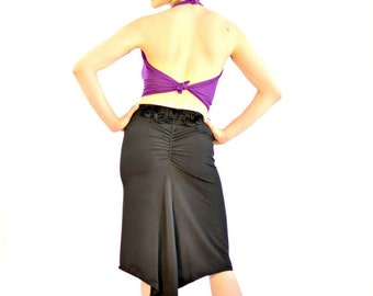 Pin Up Skirt,Tango Skirt,Milonga Skirt, Ruched Back Skirt, Back Ruched Tail Skirt Salsa Skirt, Dance Skirt, Godet Skirt,Panel Skirt