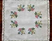 Vintage Hand Embroidery - Roses / Ecru Linen - Toss Pillow Case / Picture - Cottage Chic / Farmhouse Decor - Holiday Gift estate sale find