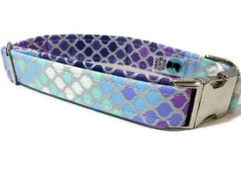 Dog Collar | Mermaid Scales in Purple Dog Collar | Your choice of metal buckle or plastic buckle | Ombre Dog Collar | Girl Dog Collar