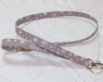 Lanyard - Badge Holder - Key Lanyard - Fabric Lanyard - Snowflake Lanyard - Teacher Lanyard - Keychain