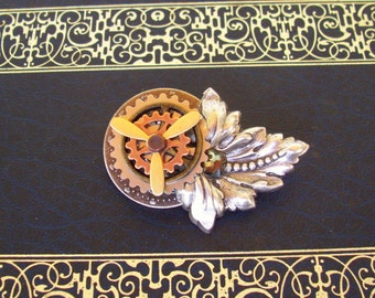 Steampunk Engineer Medal (P523) - Brass Gears and Propeller - Lapel or Jacket Pin - Crystal
