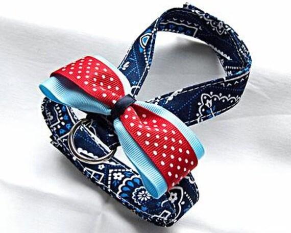 Small dog harness, velcro close Blue Bandanna 2
