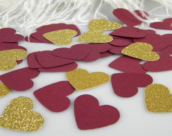 Burgundy and Gold Wedding Confetti Hearts | Table Scatter | Bridal Shower Baby Shower Decoration | Burgundy & Gold Party Decoration