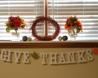Give Thanks Thanksgiving Banner 5 inches  with Autumn Maple Leaves