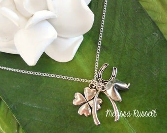Ultimate Silver Lucky Charm Necklace - Four leaf clover, wishbone and, fortune cookie and  horseshoe, handmade jewelry, birthday