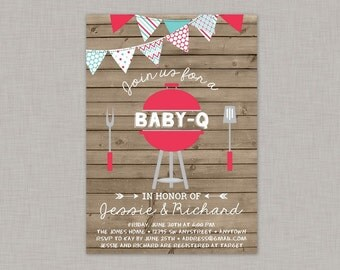 BBQ Baby Shower Invitation, Baby Q Invitation, Coed Baby Shower, Couples Baby Shower
