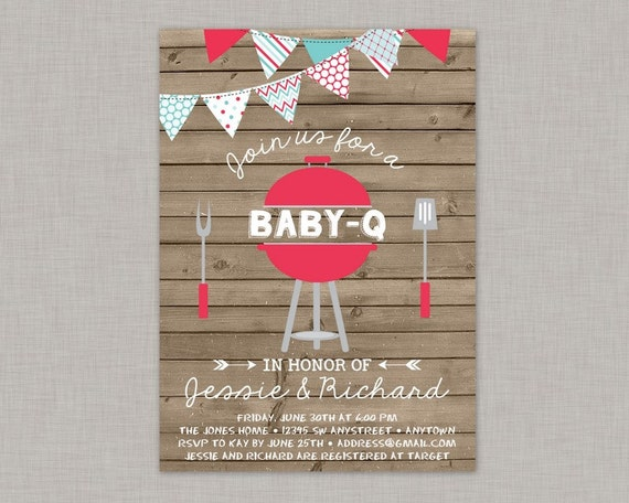 BBQ Baby Shower Invitation Baby Q Invitation Coed Baby Shower