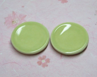 Dollhouse Miniature plates 25mm set of 2 pcs celery shabby chic 1:12 scale one inch Supplies