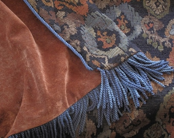 Custom Chenille Throw - 1 side Ikat Chenille, 1 Side Rust Chenille