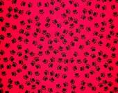 Puppy Dog Track Fabric By The Yard Hi-Fashion Fabrics Sewing Fabric Red Black Fabric