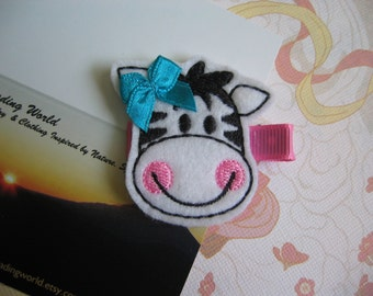 Cow Embroidered Felt Clippies - Felt Hair Clips - Black, White, Pink. Blue