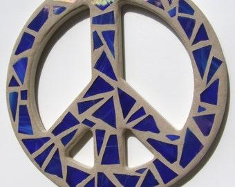 Blue Mosaic Peace Sign Wall Art Hippie Wall Decor 60's Era Retro Inspired Decor