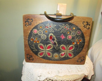 Vintage 60s Wooden Purse / Boho Hippie Box Purse / Jeweled Butterfly Purse